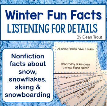 Winter Listening For Details Fun Facts for Speech Therapy