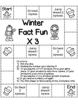 Winter Fun Facts (Multiplication): 26 Winter board games (color and b/w)