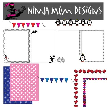 Winter Fun Frames and Borders Clip Art in Color and Black Line