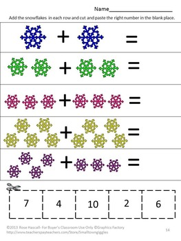 Winter Kindergarten Special Education Autism Cut and Paste Fine Motor