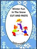 Winter Cut and Paste No Prep Fine Motor, Kindergarten Special Education, Autism