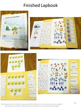 Winter Math & Literacy Centers, Cut and Paste, Lapbook Activities,Kindergarten
