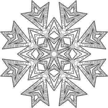 Winter Fun Mandala Coloring Book Pages- Snowflakes and Mandalas