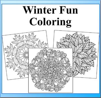 Winter Fun Mandala Coloring Book Pages- 33 Snowflakes and ...