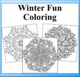 Winter Fun Mandala Coloring Book Pages- 51 Snowflakes and