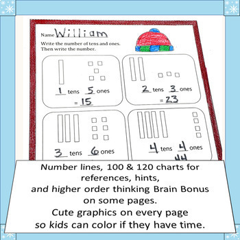 January Winter Fun Math CCSS First Grade Just Print It (Common Core)