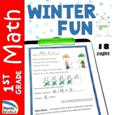 January Winter Fun Math Worksheets for First Grade