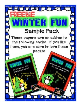 Winter Fun Math Language Arts Free Sample Pack {Sweet Line