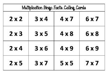 Winter Fun Multiplication Bingo
