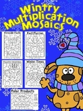 Winter Fun! Multiplication Mosaics-Color By Number-Math Fact Practice
