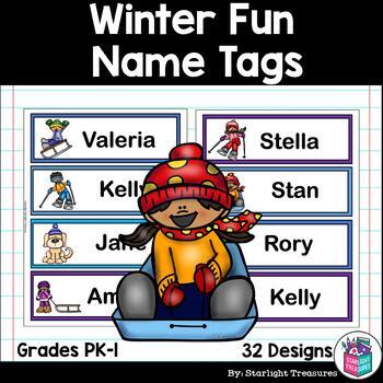 Winter Fun Name Tags - Editable