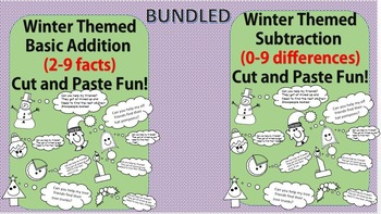 Winter Fun No Prep Printables Addition and Subtraction Cut and Paste