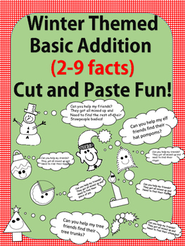 Winter Fun No Prep-Printables! Basic Addition Facts 2-9 (cut and paste fun)