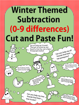Winter Fun No Prep-Printables! Basic Subtraction Facts 2-9 Differences