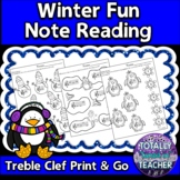 Music Worksheets: Treble Clef Note Reading {Winter Fun}