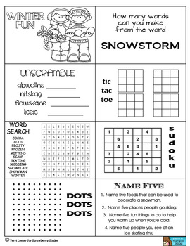 Winter Fun Pack: Partner Games and More for Classroom and Family Fun
