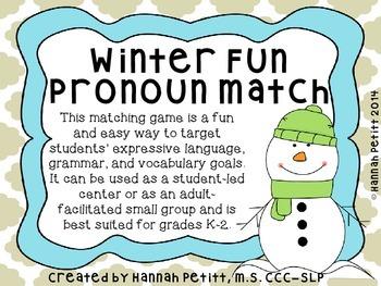 Winter Fun Pronoun Match *GREAT ELL RESOURCE*