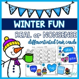 Winter Fun - Real or Nonsense Words - Differentiated task cards