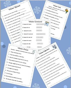 Winter Fun:  Rhymes, Synonyms, Nouns, Verbs and Adjectives