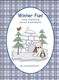Winter Fun! Story Sequencing centers & worksheets