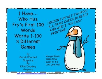 Sight Words Three I Have Who Has? Games with First 100  Fry Words