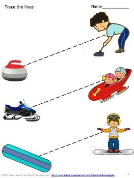 Winter Olympics Tracing Activities, Fine Motor Skills Early Childhood