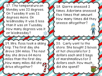 Winter Two Step Math Word Problem Task Cards