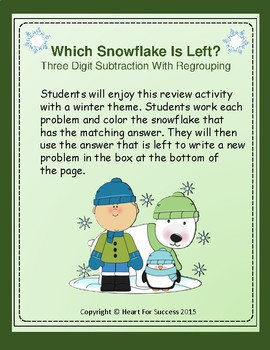 Winter Fun: Which Snowflake Is Left?  Three Digit Subtraction With Regrouping
