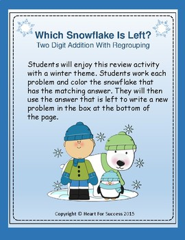 Winter Fun: Which Snowflake Is Left?  Two Digit Addition With Regrouping