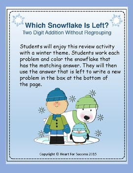 Winter Fun: Which Snowflake Is Left? Two Digit Addition Wi