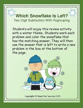 Winter Fun: Which Snowflake Is Left?  Two Digit Subtraction With Regrouping
