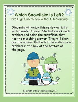 Winter Fun: Which Snowflake Is Left?  Two Digit Subtraction Without Regrouping