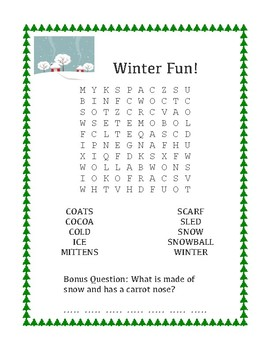 Winter Fun Word Search Easier