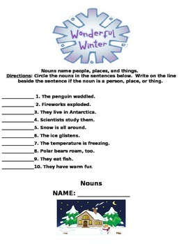 Winter Fun with Nouns, Verbs, Adjectives, and Adverbs Packet