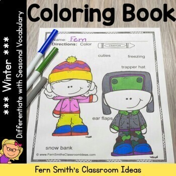 Coloring Pages for Winter with Differentiated Seasonal Vocabulary