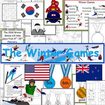 Winter Games 2018 Pyeongchang pack- displays, maths, writing- Olympics