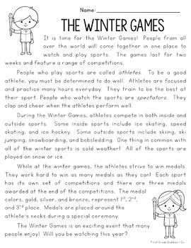 Winter Games 2018 Reading Comprehension Passages & Questions