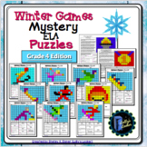 4th Grade Winter Sports Color by Code ELA Mystery Pictures: Grade 4 ELA Skills