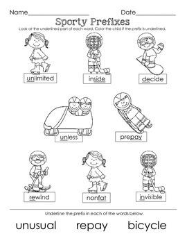 Winter Olympics Language Arts morning work  (nouns, verb tense, & prefixes)