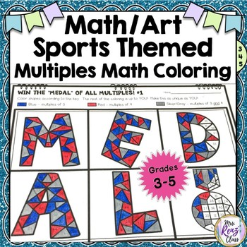 Winter Games Math Art Multiples - Fun Coloring to Reinforce Common Multiples