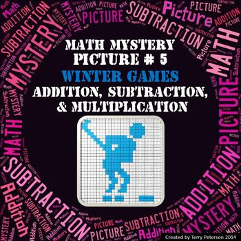 Winter Games Math Mystery Picture #5  ~ Addition, Subtract