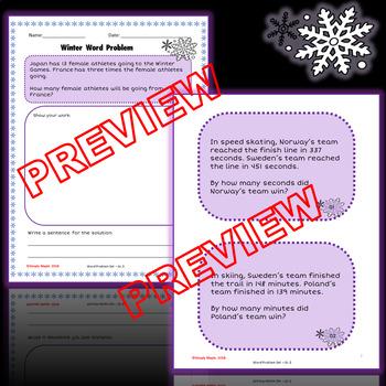 Winter Games Math Word Problems - 3rd Grade