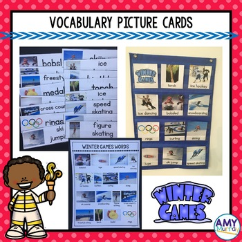 Winter Games Picture Vocab Cards and Writing Activities
