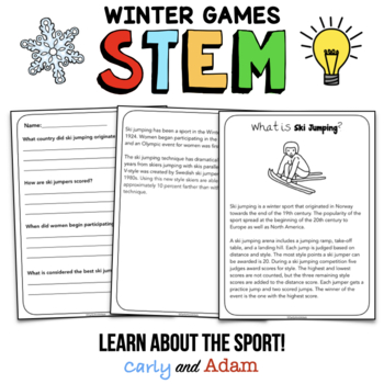 Winter Games Ski Jumping STEM Activity