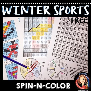 Winter Sports Spin and Color Game