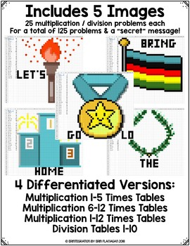 Winter Games / Summer Games Digital Pixel Art Magic Reveal MULTIPLICATION