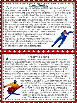 Winter Games: Text Structure Task Cards