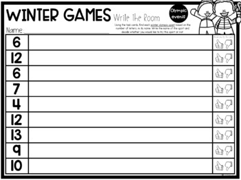 Winter Sports Write the Room