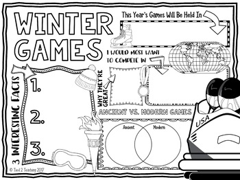Winter Games Writing Activity Doodle Poster