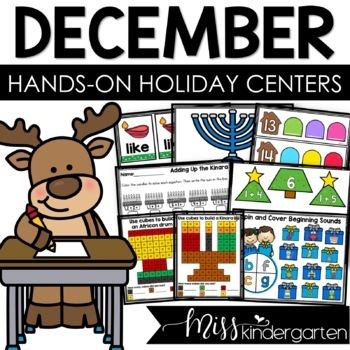 December Centers for Kindergarten Math and Literacy
